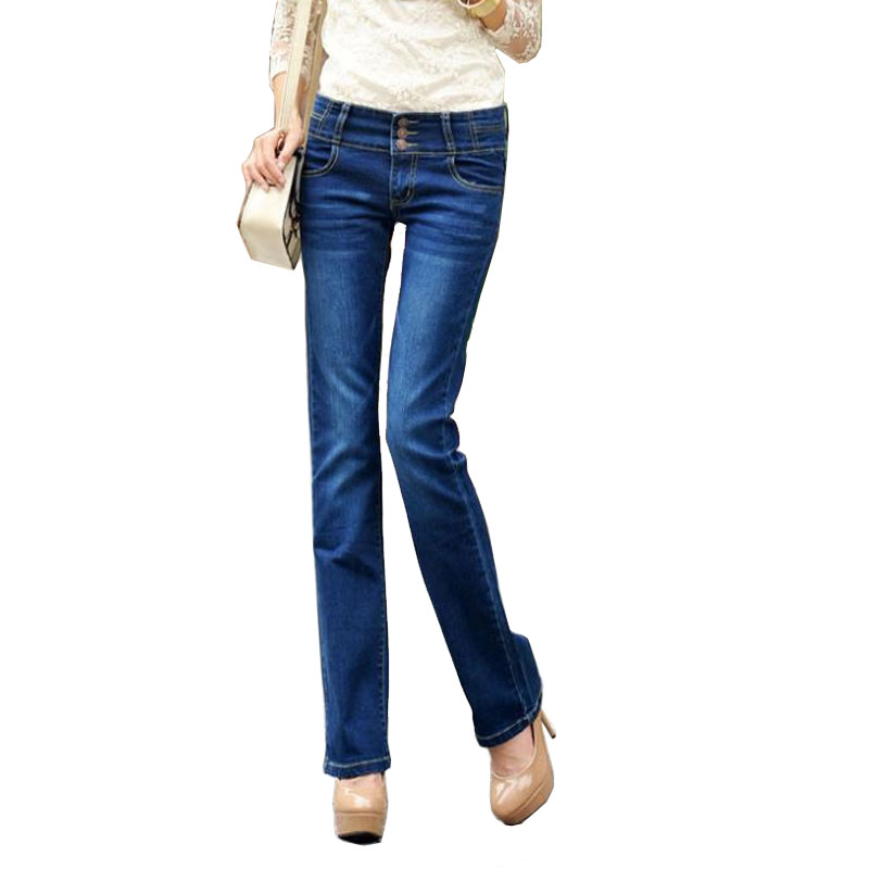 Boot cut denim slim mid waist plus size female trousers flare trousers OL outfit,Free shipping