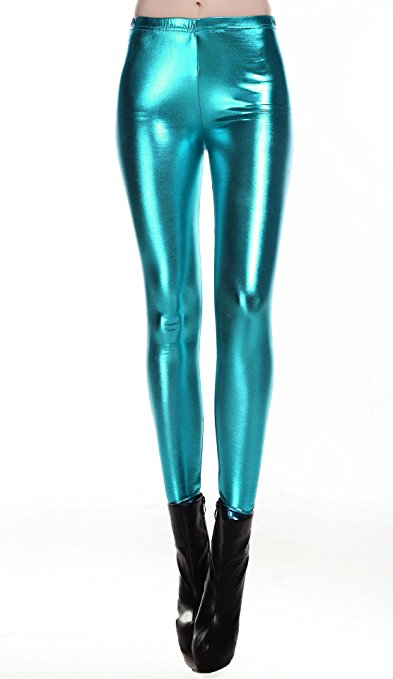 LZCMsoft Turquoise Middle Waist Women Full Length Pencil Pants Shiny Metallic Strechy Meggings Skinny Plus Size Trousers