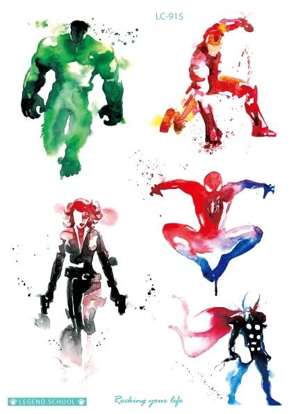 Rocooart Cartoon Flash Taty Hulk X Men Fake Tattoo Heros Tatouage
