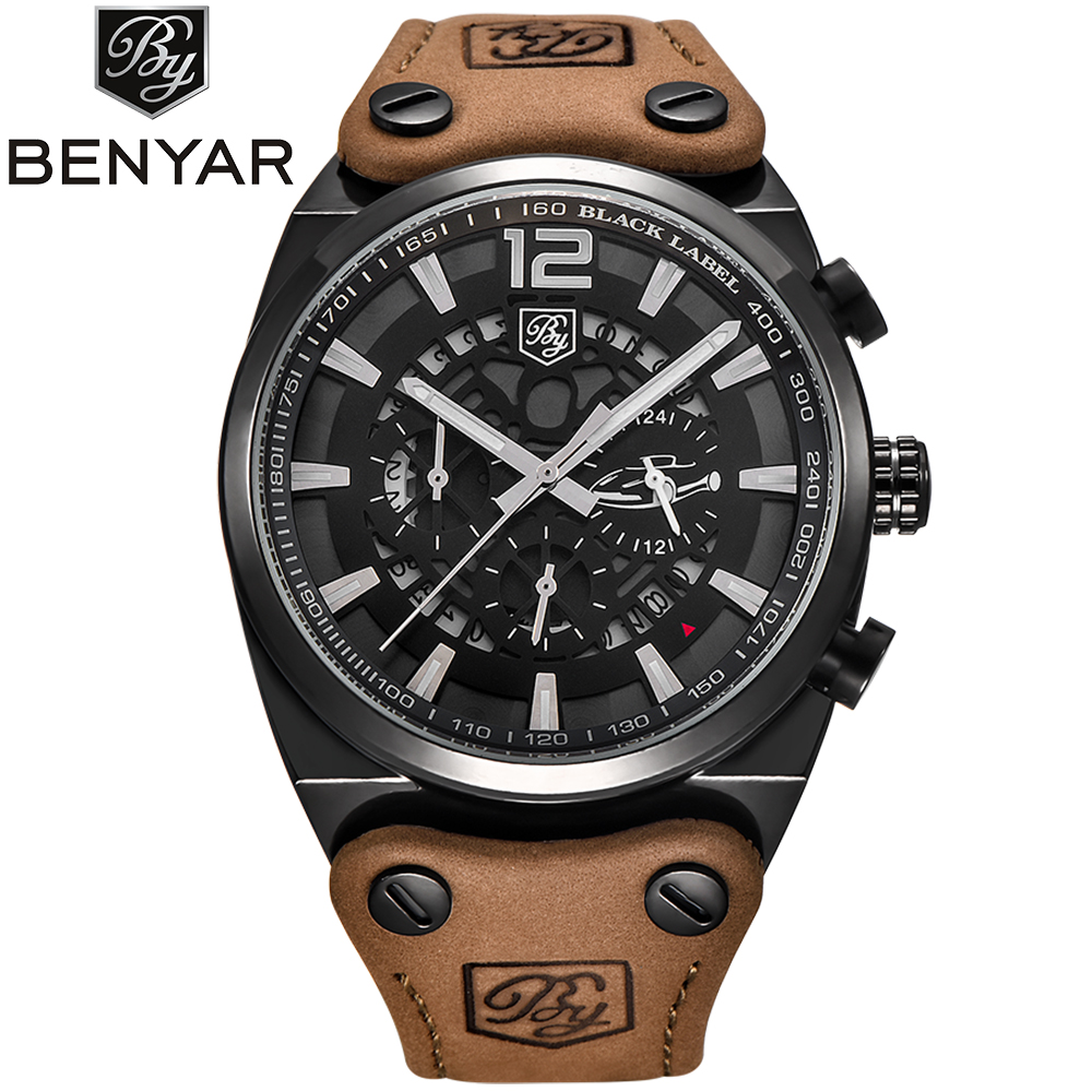 BENYAR Mens Military Watch Waterproof Chronograph Sport Outdoor Aviator Quartz Watches Real Leather Band  Army Male Clock hot sale fashion pilot aviator military army style dial scrub leather band quartz analog casual outdoor sport watch for men