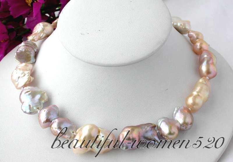 Z2468 16 30mm rose lavande baroque keshi reborn collier de perlesZ2468 16 30mm rose lavande baroque keshi reborn collier de perles