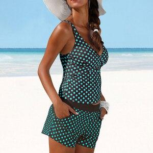 Image 2 - Vrouwen Stippen Tankini Plus Size Badmode Push Up Tweedelige Badpak Met Shorts Hoge Taille Badpak 2XL Polka Print beachwear