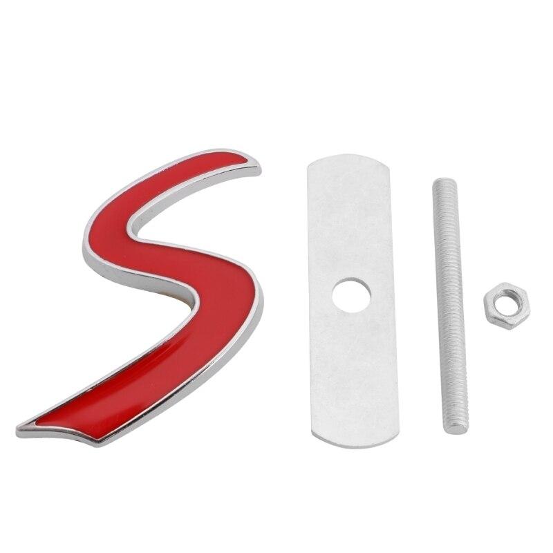 3D מתכת S חזית גריל תג סמל מדבקות למיני קופר R50 R52 R53 R56 R57