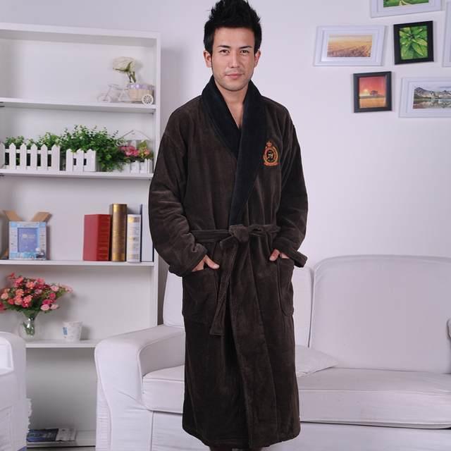 6cd42860e0 Cotton bathrobe men XXL mens nightgown women nightdress ladies thick towel  fleece soft long warm antumn