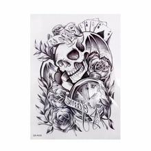 Removable Trendy Temporary Tattoo Clock Death Skull Tattoos Stickers For Lower Arm Body Art Men 1PCS