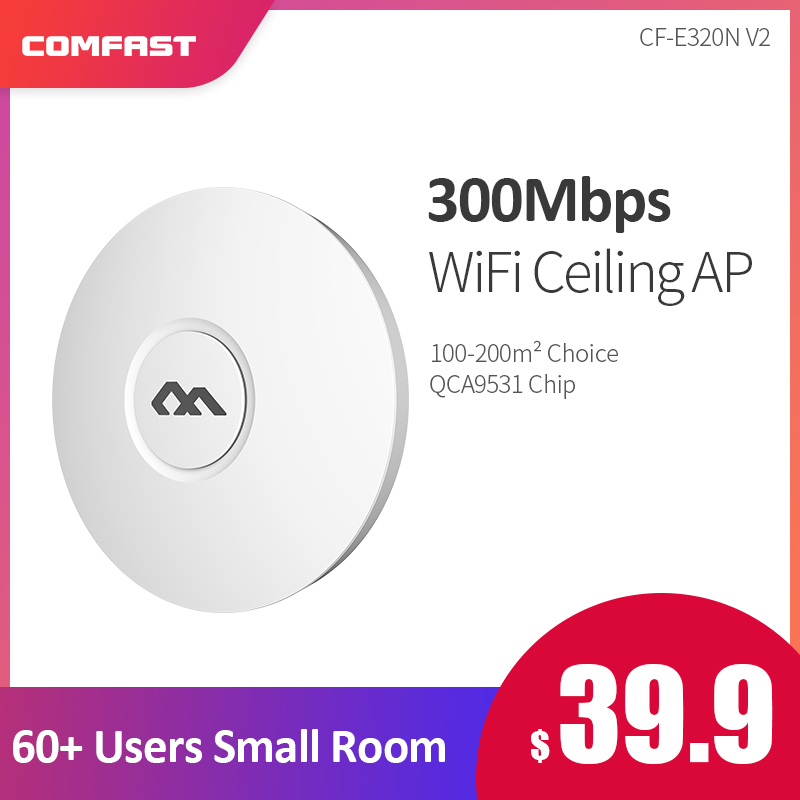 300Mbps COMFAST E320V2 WiFi Ceiling Wireless AP OPENWRT WiFi 802.11b/g/n QCA9531 Enterprise System Access Point AP 6dbi Antenna