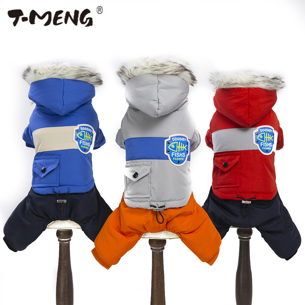 T MENG Warm Dog Coat With Hood Fur Soft Winter Dog Clothes Puppy Jumpsuit Clothing Collar Pet Apparel Winter Dog Outfits S XXL
