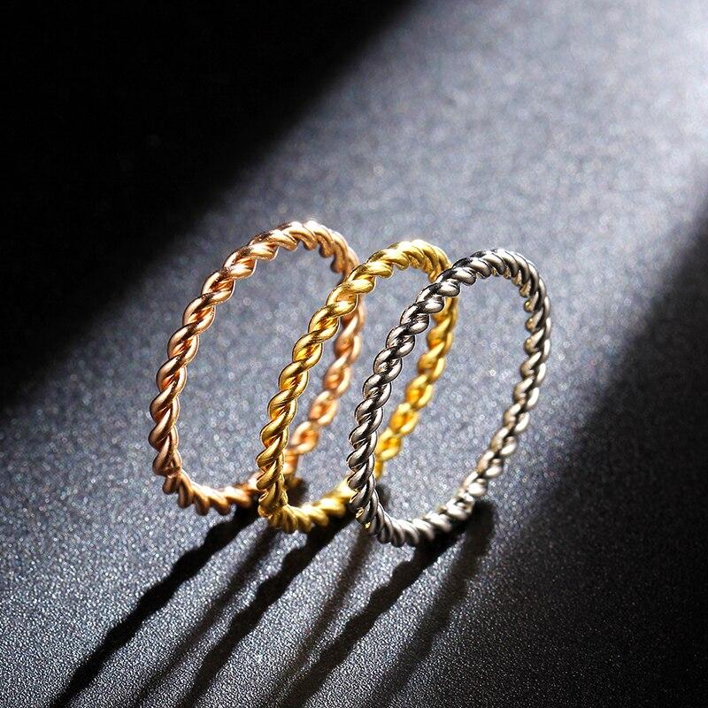 MANGOSKYRound кольца для женщин 1,5 мм тонкое розовое золото/серебро/золото Цвет скрученная веревка для штабелирования обручальные кольца в бижуте...