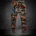 floral colorful print  linen harem pants men trousers plus big size sreet drawstring pantalons homme free shipping