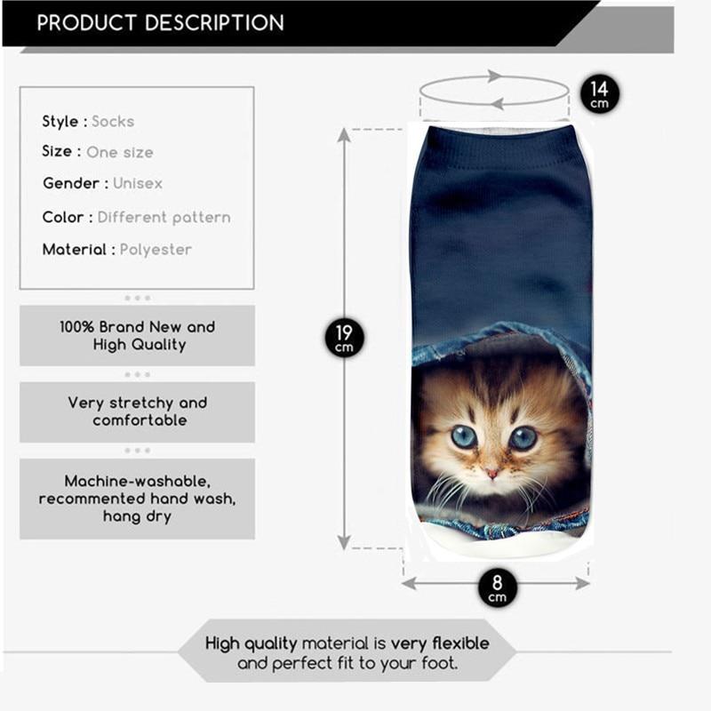 SLMVIAN New 3D Printing Women Socks Brand Sock Fashion Unisex Socks Cat Pattern Meias Feminina Funny Low Ankle HOT HTB1SXSyKpXXXXXtXXXXq6xXFXXX9