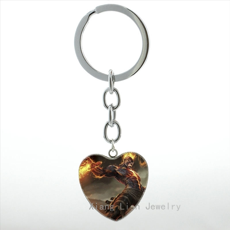 Hot popular Online ame case for League of Legend LOL hero art heart pendant key chain ring game fans keychain men jewelry HP378