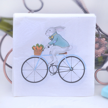 20pcs 33*33cm rabbit Bicycle theme Paper Napkin Tissue for kids birthday party decoration