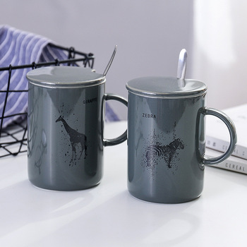Gray animal pattern ceramic cup with lid and spoon,Breakfast Milk Tea Mug Creative Gift Porcelain cup offee Cups image