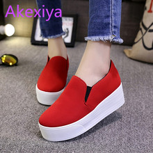 Akexiya Spring Autumn Style Women Platform Shoes Woman Flats Loafers Canvas Espadrilles Slip On Ladies Creepers Thick Sole Ev