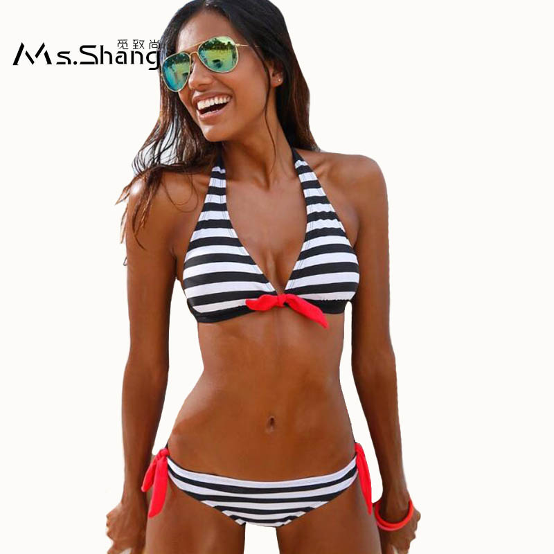 Ms Shang 2017 Women Sexy Bikini Set Striped Swimwear Women Brazilian Swimsuit May Beach Female Halter Top Bathing Suits S/M/L