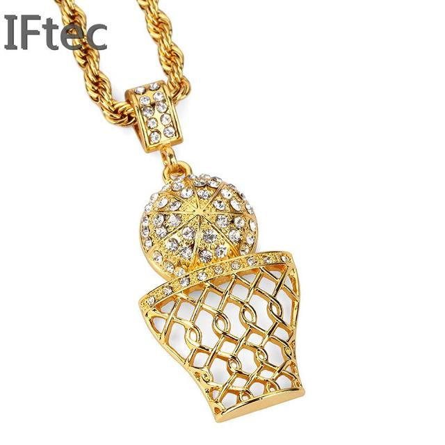 92e78737e2153 US $11.99 |Newly 316l Stainless Steel Basketball Slide Net Pendant Necklace  18 K Golden basketball Rims Necklace Boys Mens Hip Hip Jewelry-in Pendant  ...