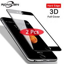Protetor de tela de vidro temperado para iphone, 2 peças 3d cobertura completa para iphone 8 7 6 6s plus 5 5S se iphone x xs 11 pro max xr película protetora