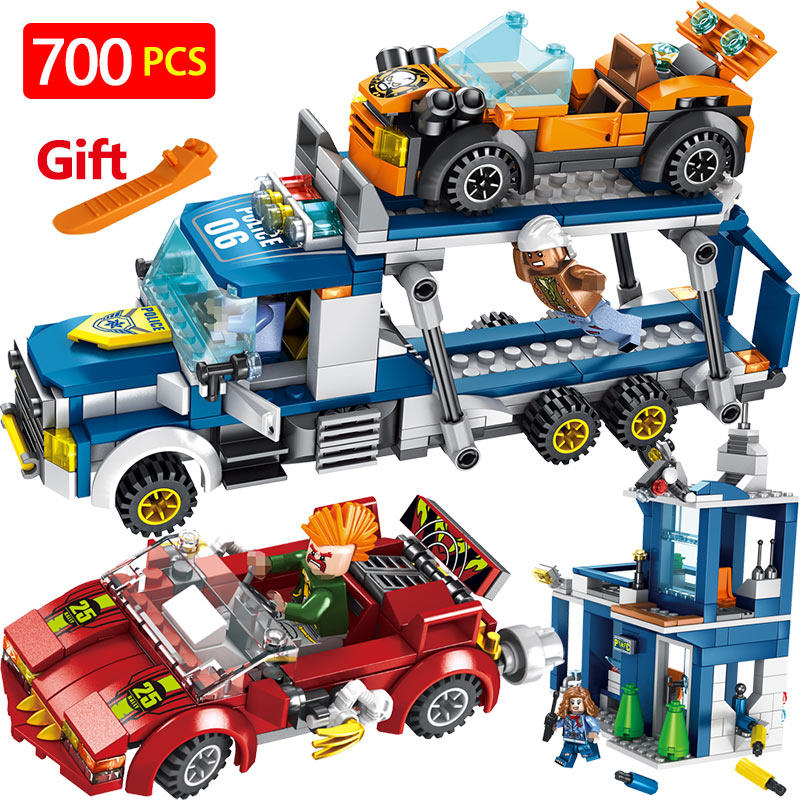 City Series Building Blocks LegoINGLYS Technic Police Bandits Compete for Truck Mini Action Figures Bricks Enlightening Toys lepin 40011 882pcs city series police department model building blocks bricks toys for children gift action figures