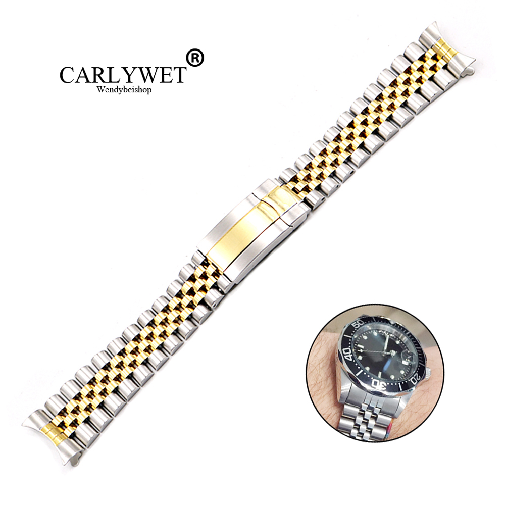 CARLYWET 19 20mm Wholesale Hollow Curved End Screw Links Stainless Steel Replacement Jubilee Watchband Bracelet For DatejustCARLYWET 19 20mm Wholesale Hollow Curved End Screw Links Stainless Steel Replacement Jubilee Watchband Bracelet For Datejust