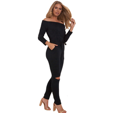 2017 New Spring Rompers Womens Jumpsuit Slash Neck Long Sleeve Elastic Waist Lace Up Hollow Out Casual Sexy Jumpsuits One Piece