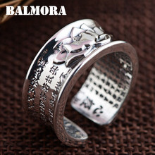 BALMORA 100% Real 999 Pure Silver Jewelry Buddhistic Sutra Open Rings for Women Lover Anniversary Gifts High Quality SY21596(China)