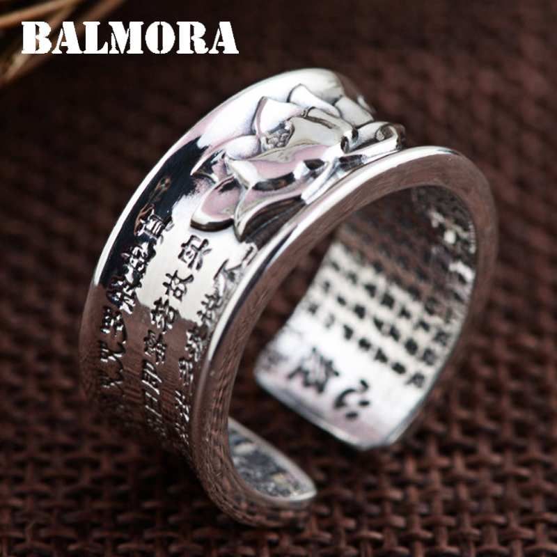 BALMORA 100 Real 999 Pure Silver Jewelry Buddhistic Sutra Open Rings for Women Lover Anniversary Gifts