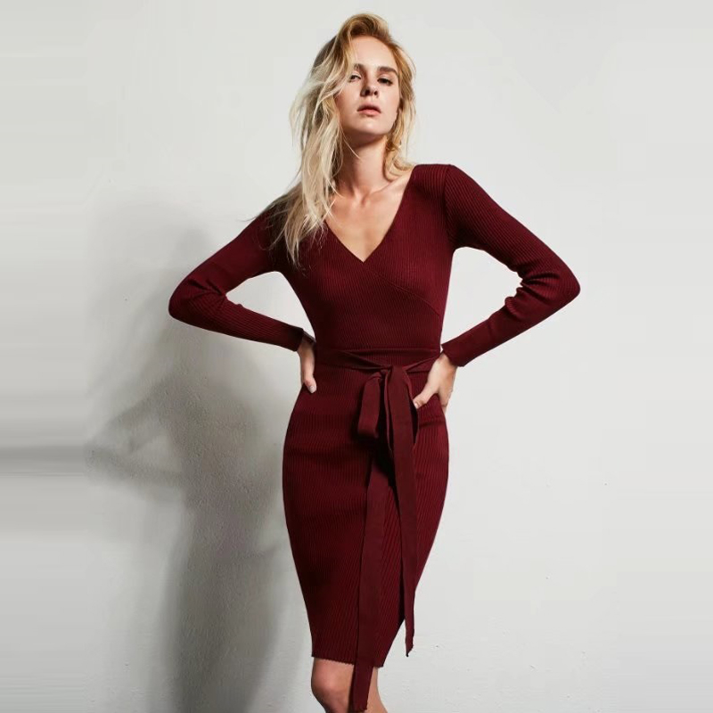 Vintage women Front Cross V-neck Knitted Sheath Knee-length  Dress With Waist Sashes
