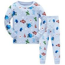1 комплект; 8R-127; Детские пижамные комплекты для мальчиков с рисунком рыбы; комплект одежды для сна с длинными рукавами для От 3 до 8 лет