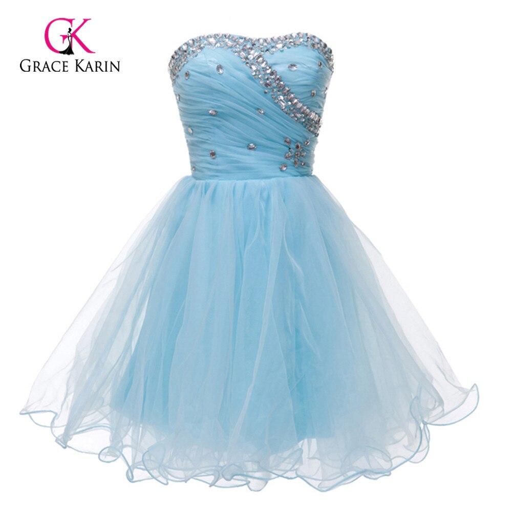 Short Prom Dresses 2018 Grace Karin Volie Blue White Pink Beaded ...