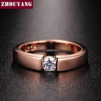 ZHOUYANG-Anillo de boda de circonia cúbica, de corazones y flechas de 4,5mm, Color oro rosa y plata, clásico, R400 R406
