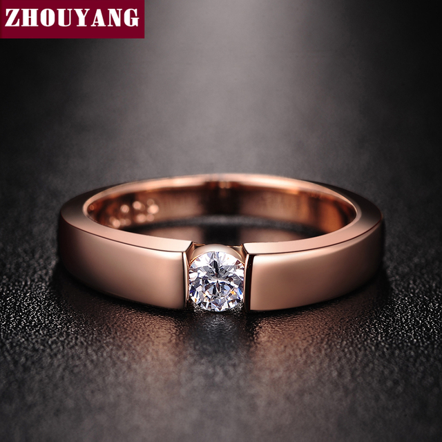 ZHOUYANG 4.5mm Hearts and Arrows Cubic Zirconia Wedding Ring Rose Gold & Silver