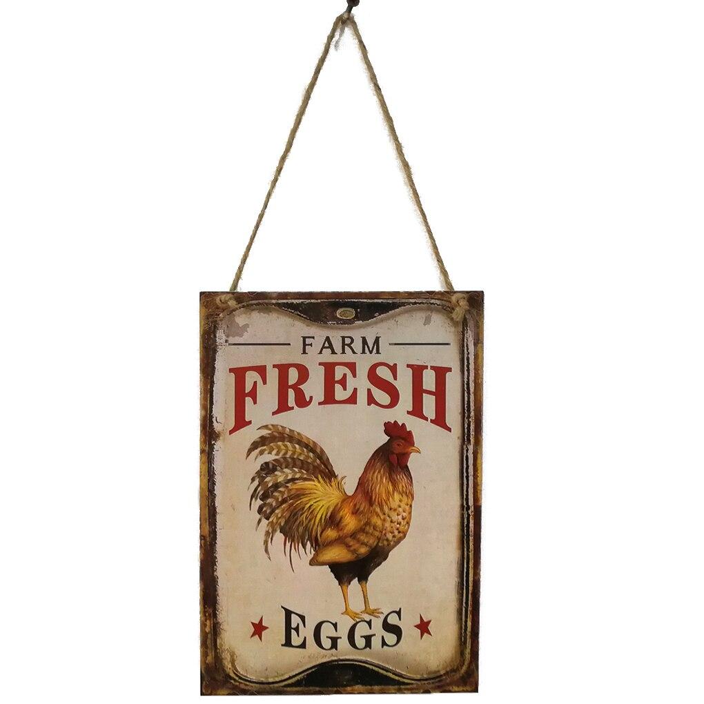 Вывеска Ретро курица фермы свежие яйца письмо деревянная доска Настенный декор висит кулон для фермы ранчо планка украшения