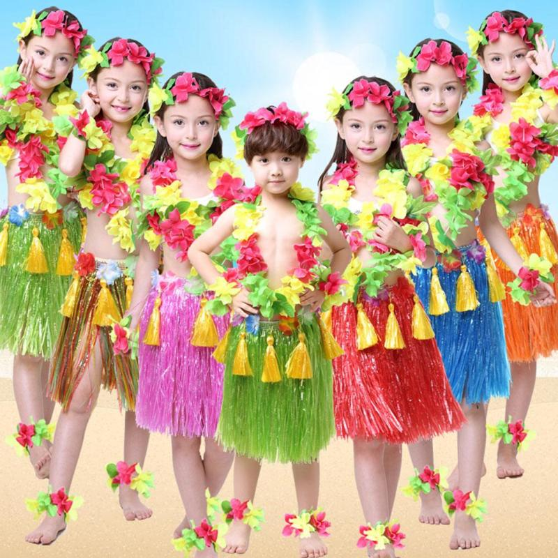 ca33e03aa3d9 40CM 1PCS Plastic Fibers Kid Grass Skirts Hula Skirt Hawaiian costumes Girl  Boy Dress Up Party Supplies Wholesale gift 45
