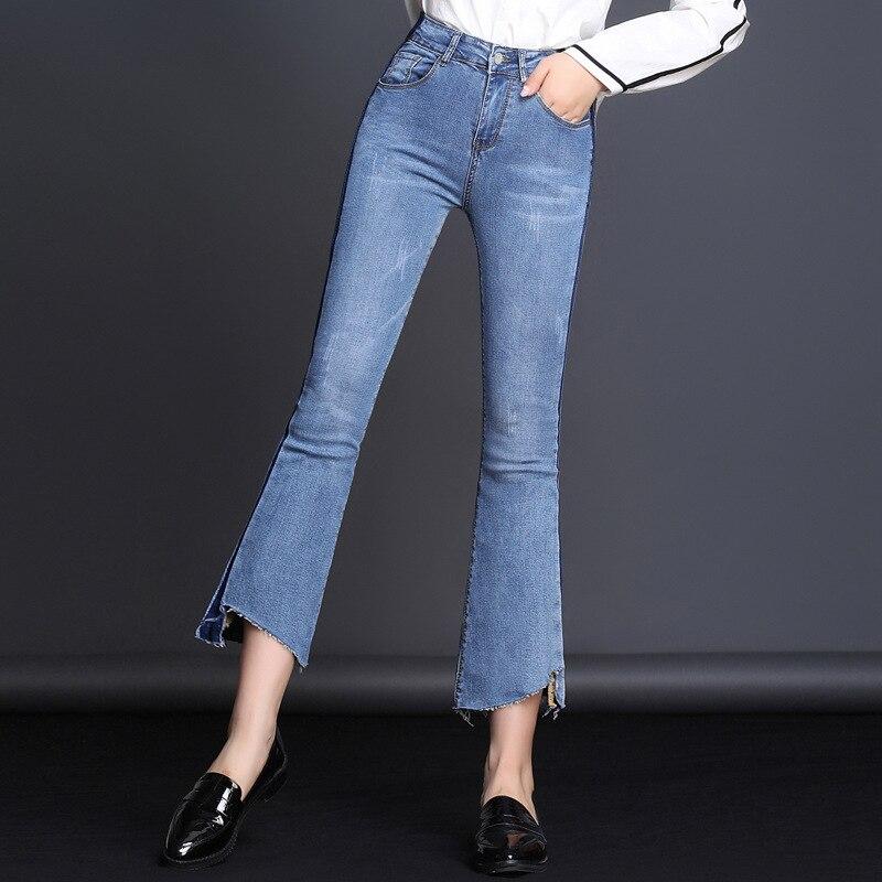 MAM Long Jeans Women Basic Classic mid Waist Skinny Pencil Blue Denim Pants Autumn Back Zipper little Stretch 1R025 048
