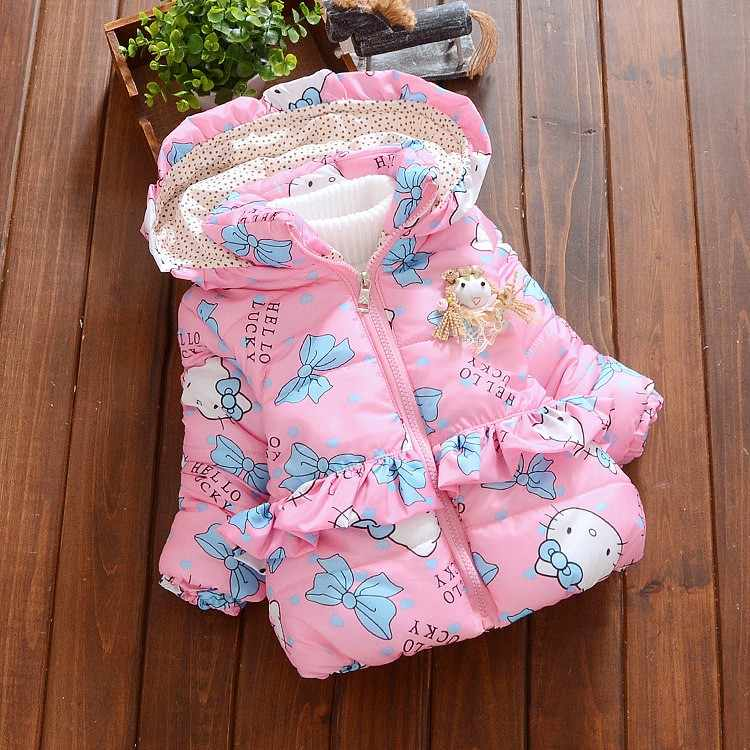 ExactlyFZ new baby girl winter coat Children Outerwear, baby girls Cartoon cat Winter Coat, baby jackets girl's clothing