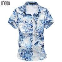 MOGU Hawaiian Men Shirt Short Sleeve Print Casual Shirt Slim Fit 2017 Summer New Floral Mens Dress Shirts Plus Size Men's Shirt