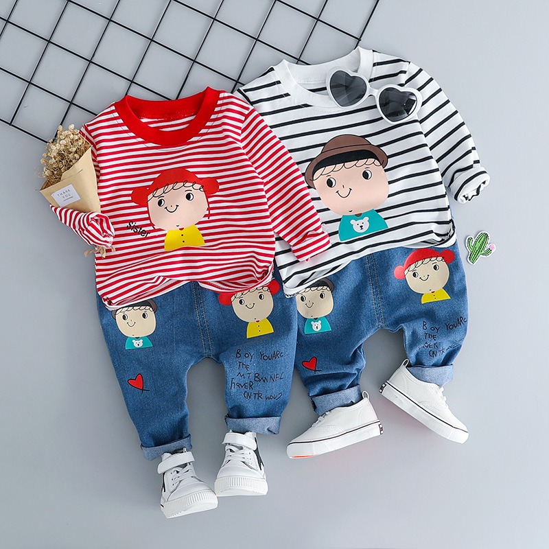 HYLKIDHUOSE Baby Girl Boy Clothes Suits Infant Clothing Sets Stripe T Shirt <font><b>Jeans</b></font> <font><b>Brother</b></font> Sister Kid Child Casual Clothes Suits