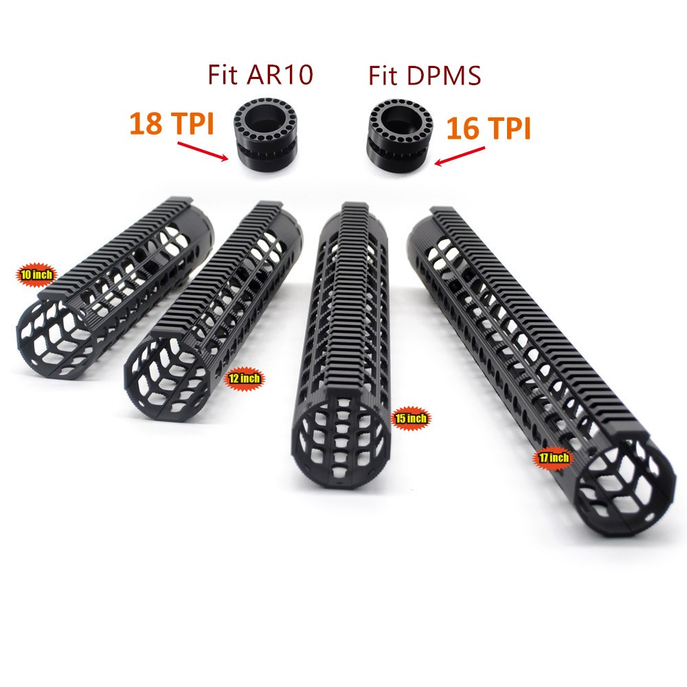 Hunting Accessories Tactical .308 10'' 12'' 15'' 17'' Inch Slim Low Profile Handguard Rail Mount System Fit AR10/ LR-308