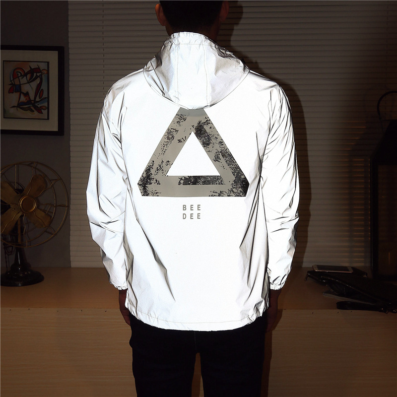 Men Jacket Casual Hip Hop Windbreaker Reflective Jacket Tide Brand Men And Women Lovers Coat Hooded Fluorescent Couple Clothing