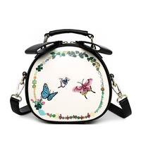Latest Design Women S Embroidery Butterfly Handbag Student PU Leather Crossbody Shoulder Bags Lovely Round Girls