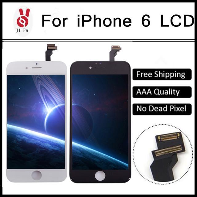 DHL Frete Grátis Para iPhone6 Display LCD Assembléia Completa com Digitador Touch, AAA Qualidade +++ em Black & White Cores