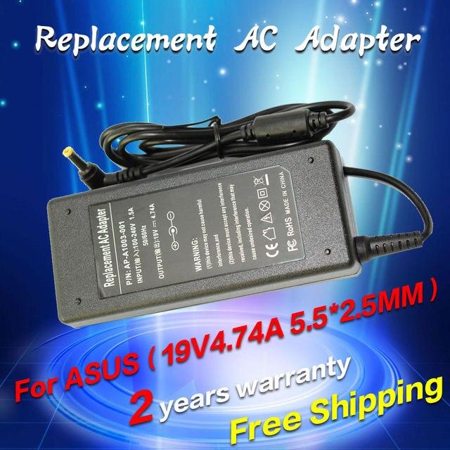 19 v 4.74a 5.5*2.5mm 90 w para asus adaptador ac laptop charger fonte adp-90ab adp-90cd db a46c m50 x43b s5 w7 f25