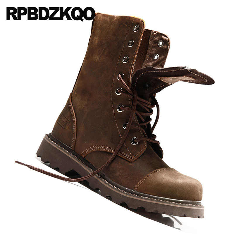 3227f6aef1 ... Chunky Combat Full Grain Leather Boots 2018 High Quality Men Mid Calf  Lace Up Military Footwear