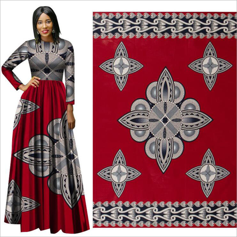 Me-dusa 2019 new red folk-custom African Print Wax Fabric 100% cotton Hollandais Wax DIY Dress Suit cloth 6yards/pcs Highquility(China)
