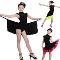 Girls Kids Children Modern Ballroom Latin Dance Dress Green Fringe Salsa Tango Dance Wear Black  Performance Stage Wear