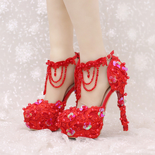 New Design Ankle Strap Heels White and Red Lace Bridal Dress Shoes Beautiful Beading Straps Wedding Shoes Women Party Prom Pumps