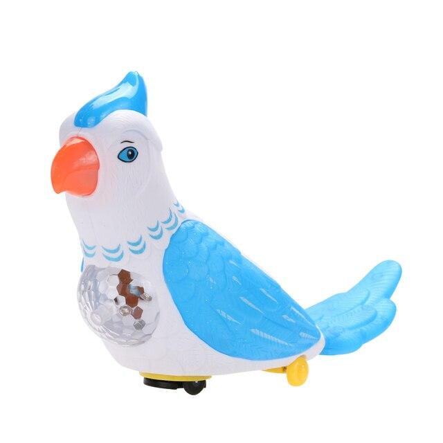 Милые Электрический Попугай Игрушки с Красочными Мигающий Светодиод Весело Музыкальных Движущихся Автоматическое Изменение Направления Попугай Игрушки K5BO