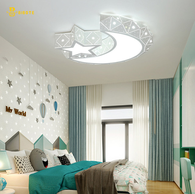 creative star half moon led ceiling light 85 265v 24w led child baby room lights ceiling lamps bedroom decoration lights bibote - Ceiling Lamps Bedroom