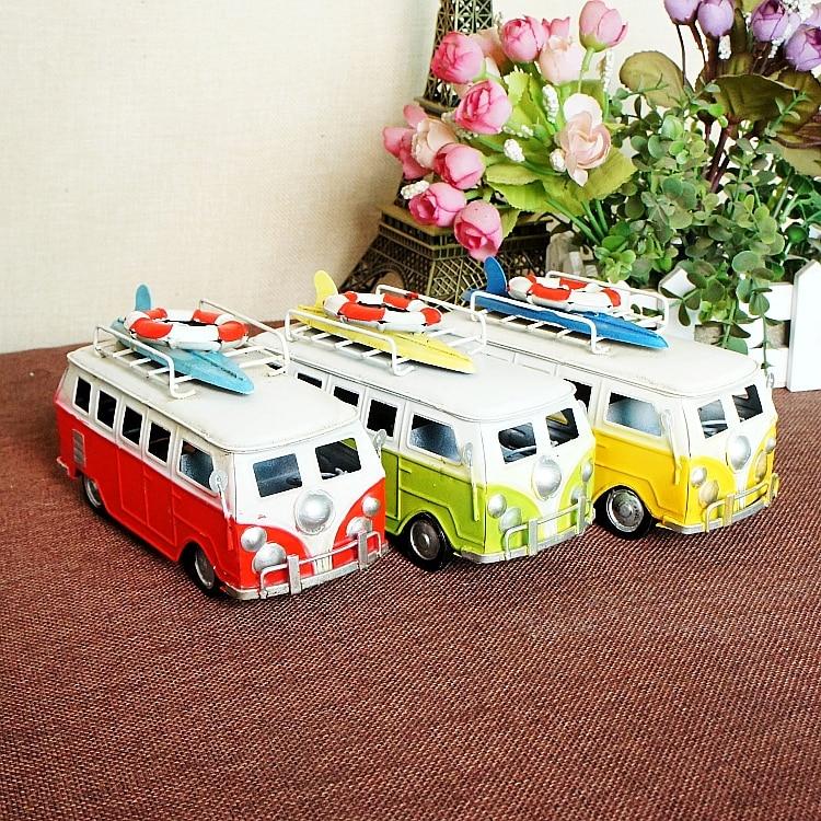 विंटेज मेटल बीच बस कार मॉडल 1:40 स्केल डायस्क बस मॉडल, क्रिएटिव होम डेकोरेशन मॉडल कार बच्चों का उपहार