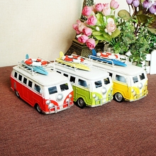 Vintage Metal Beach Bus Car Model 1:40 Scale Diecast Bus Model, Creative Home Decoration Model Car Children's Gift